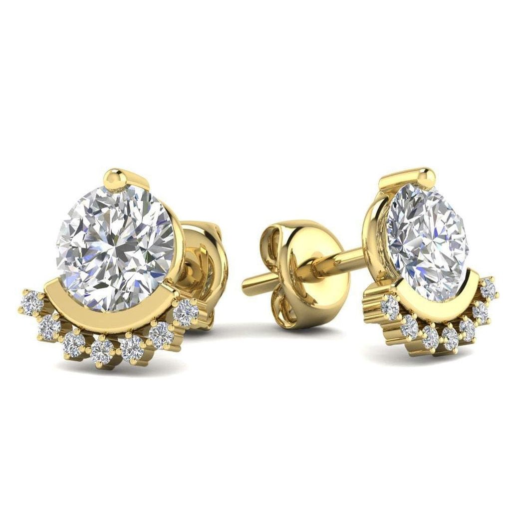 14k Yellow Gold Semi Halo Diamond Stud Earrings - 0.60 carat D-SI1 Natural, Butterfly Push-Backs - Custom Made