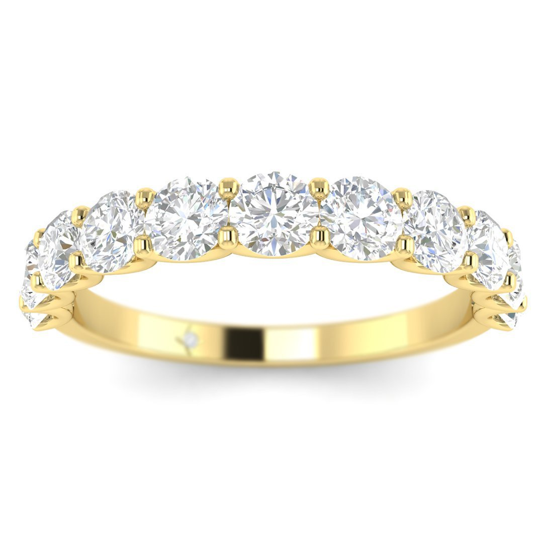 285e37e704d Details about 14k Yellow Gold Shared-Prong Semi-Eternity Women's Diamond  Wedding Band Ring
