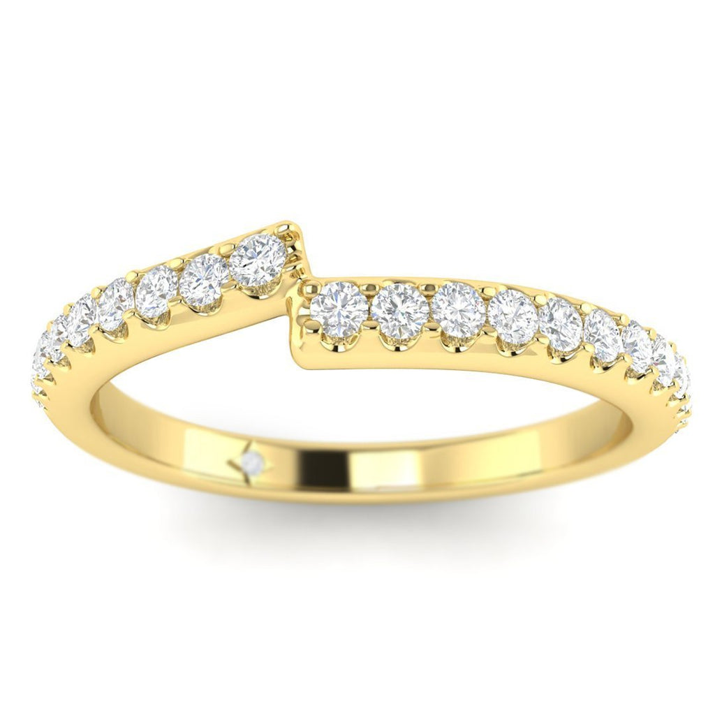 14k Yellow Gold Unique Pave Matching Diamond Wedding Band Ring - Custom Made