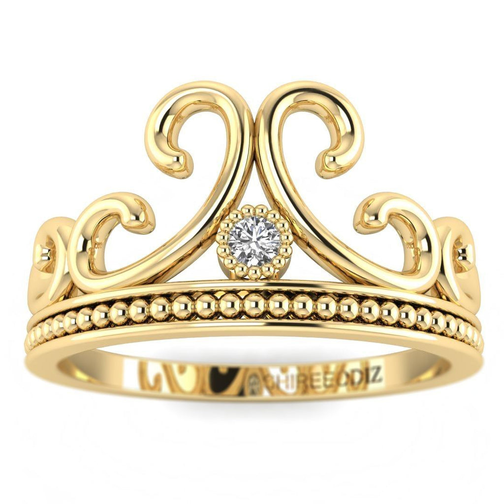 14K Yellow Gold Vintage Crown Promise Ring - Custom Made