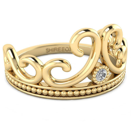 Hidden 14K Yellow Gold Vintage Crown Promise Ring
