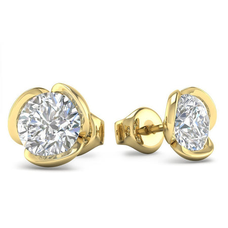 EAR-14-NAT-D-SI1-EX 14k Yellow Gold Vintage Flower Diamond Stud Earrings - 0.60 carat D-SI1 Natural, Screw Backs