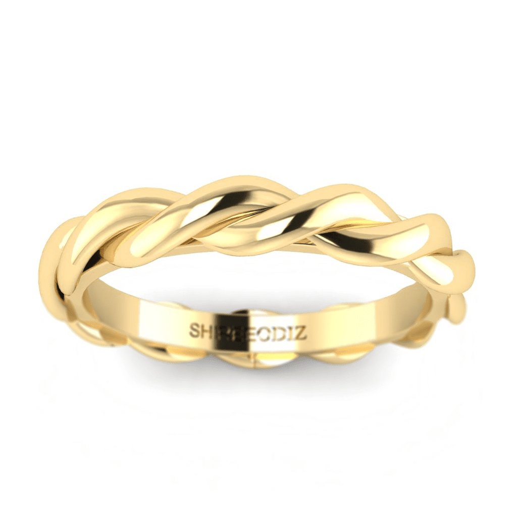 14K Yellow Gold Vintage Twisted Band For Girlfriend - Custom Made