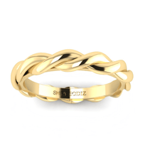 Hidden 14K Yellow Gold Vintage Twisted Band For Girlfriend