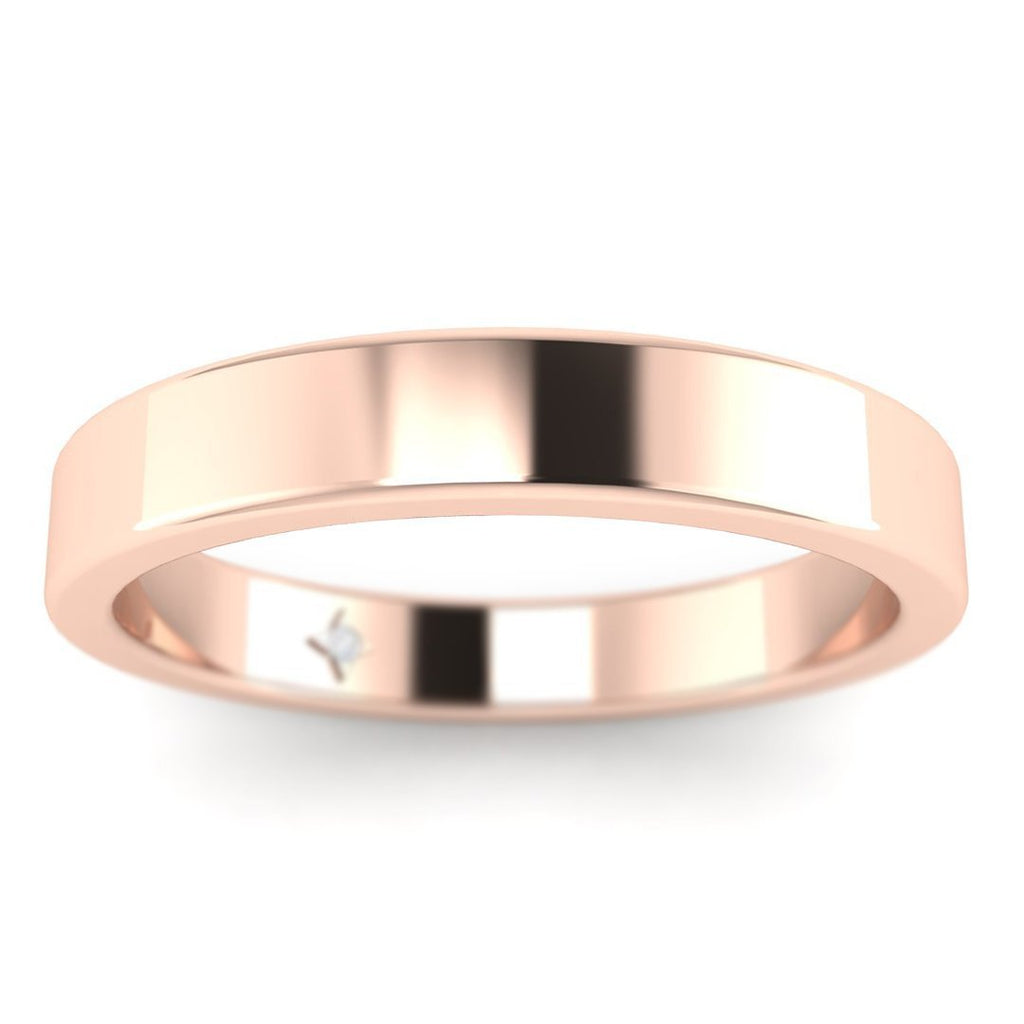 18K Rose Gold Flat Wide Classic Plain Wedding Band Ring - Custom Made