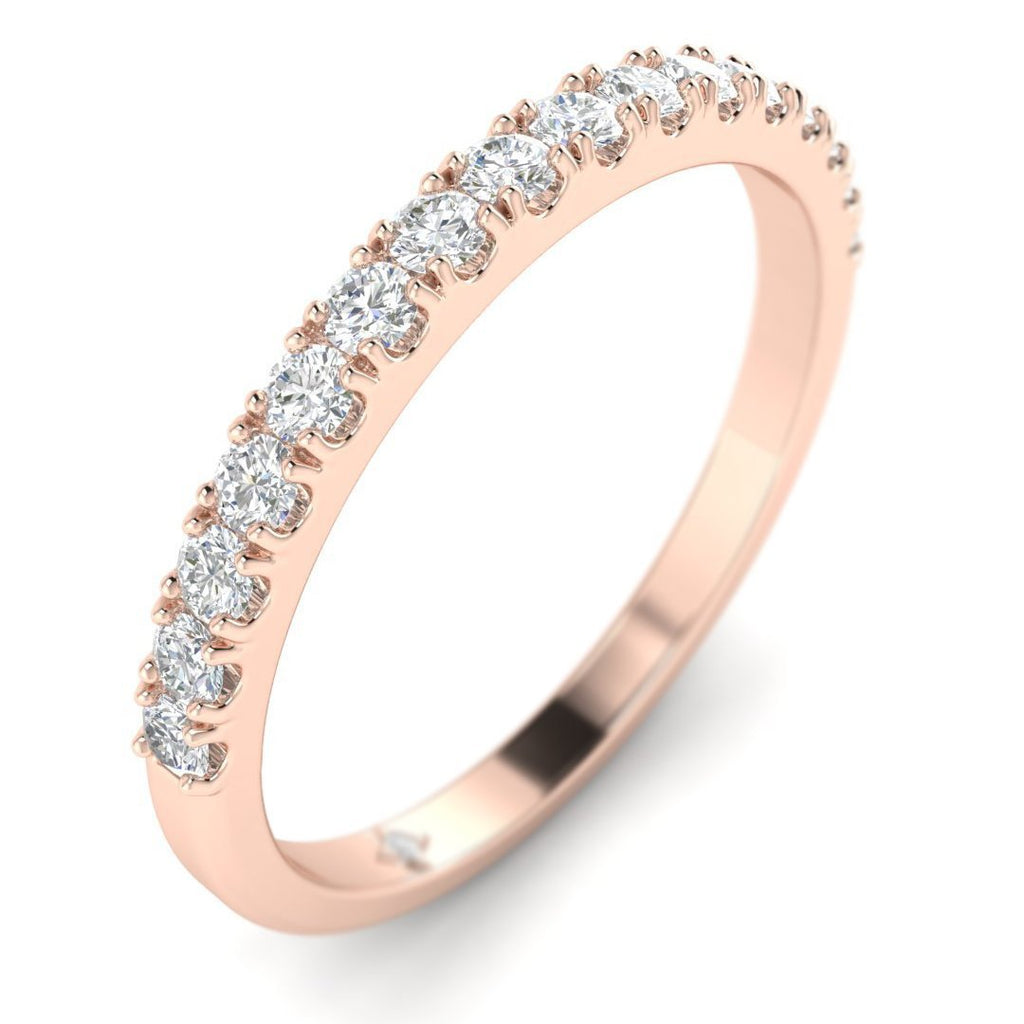 18K Rose Gold Prong Pave Stackable Diamond Wedding Band Ring - Custom Made