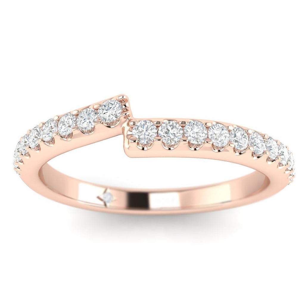 18K Rose Gold Unique Pave Matching Diamond Wedding Band Ring - Custom Made