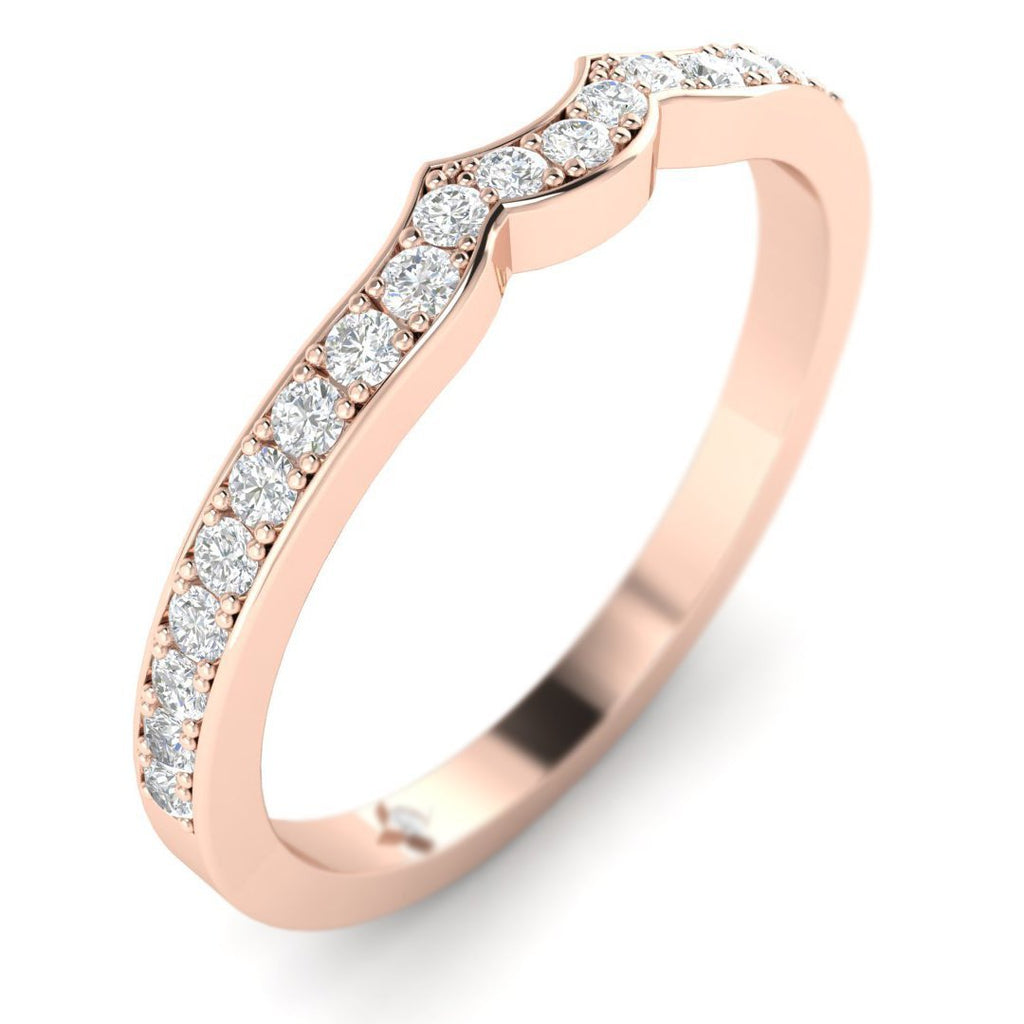 18K Rose Gold Vintage Designer Matching Diamond Wedding Band Ring - Custom Made