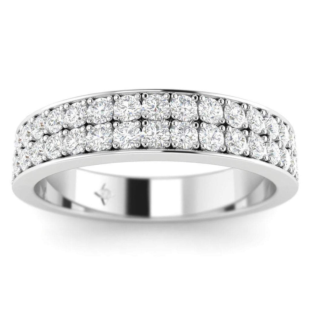 18K White Gold 2-Row Pave Set Diamond Wedding Band Ring - Custom Made