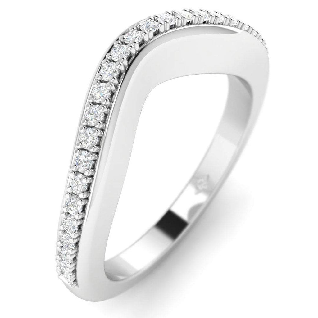 18K White Gold Pave Curved Women's Diamond Wedding Band Ring - Custom Made