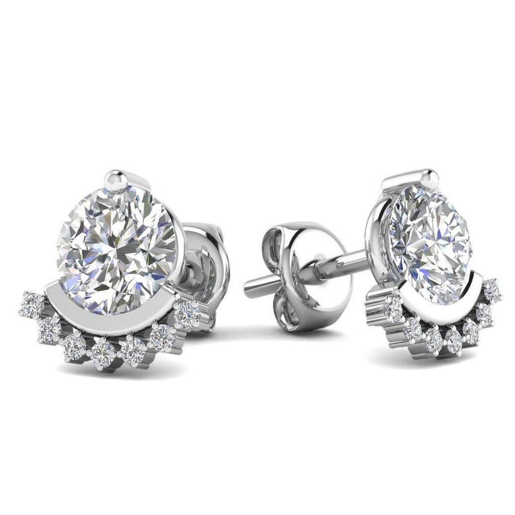 18k White Gold Semi Halo Diamond Stud Earrings - 0.80 carat D-SI1 Natural, Butterfly Push-Backs - Custom Made