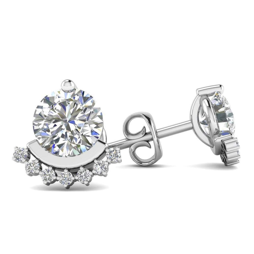 18k White Gold Semi Halo Diamond Stud Earrings - 1.00 carat D-SI1 Natural, Butterfly Push-Backs - Custom Made