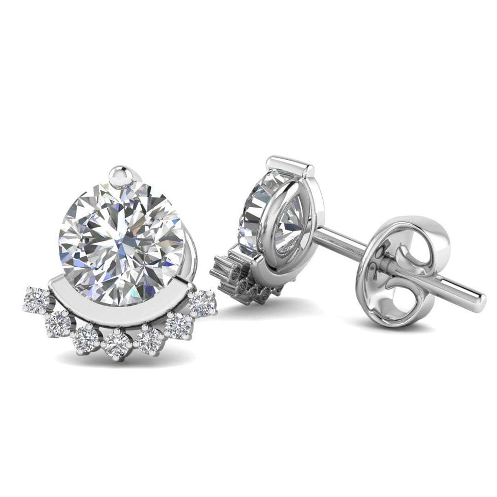 18k White Gold Semi Halo Diamond Stud Earrings - 1.80 carat D-SI1 Natural, Butterfly Push-Backs - Custom Made