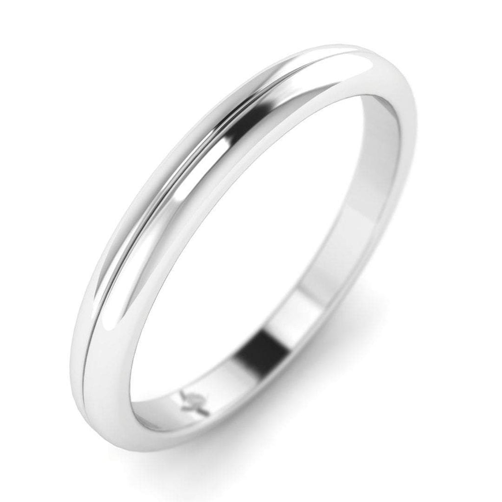 18K White Gold Unique Rounded Designer Plain Wedding Band Ring - Custom Made