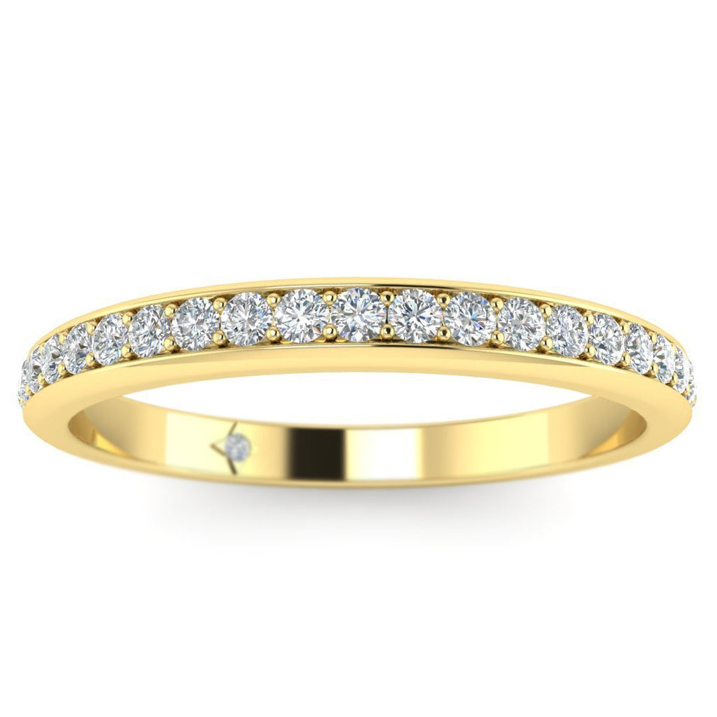 18K Yellow Gold Classic Micro Pave Thin Diamond Wedding Band Ring - Custom Made