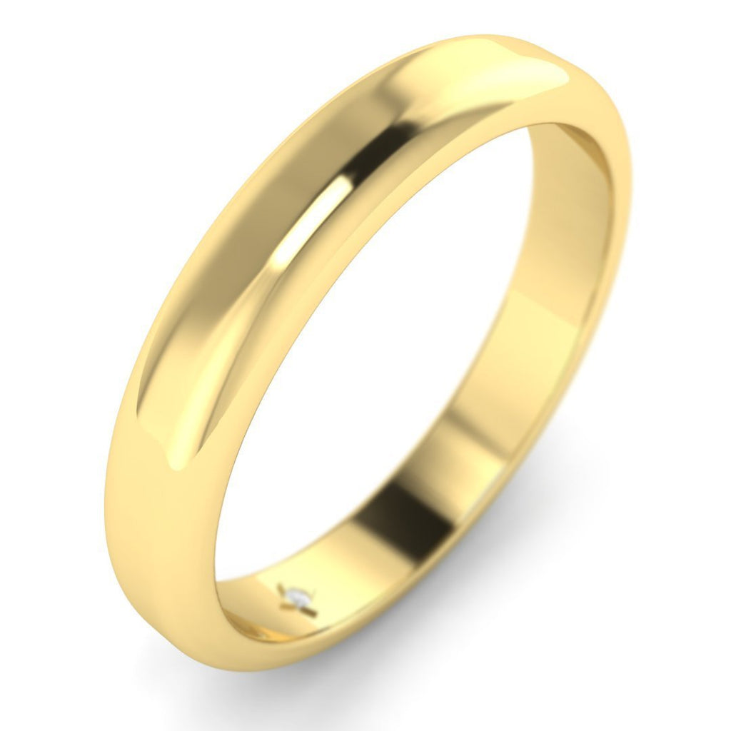 18K Yellow Gold Classic Wide Women's Plain Wedding Band Ring - Custom Made