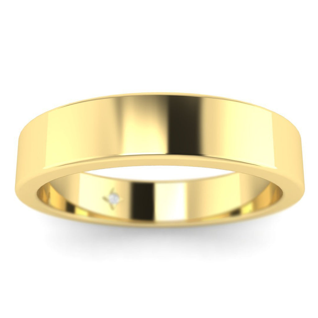 18K Yellow Gold Flat Wide Classic Plain Wedding Band Ring - Custom Made