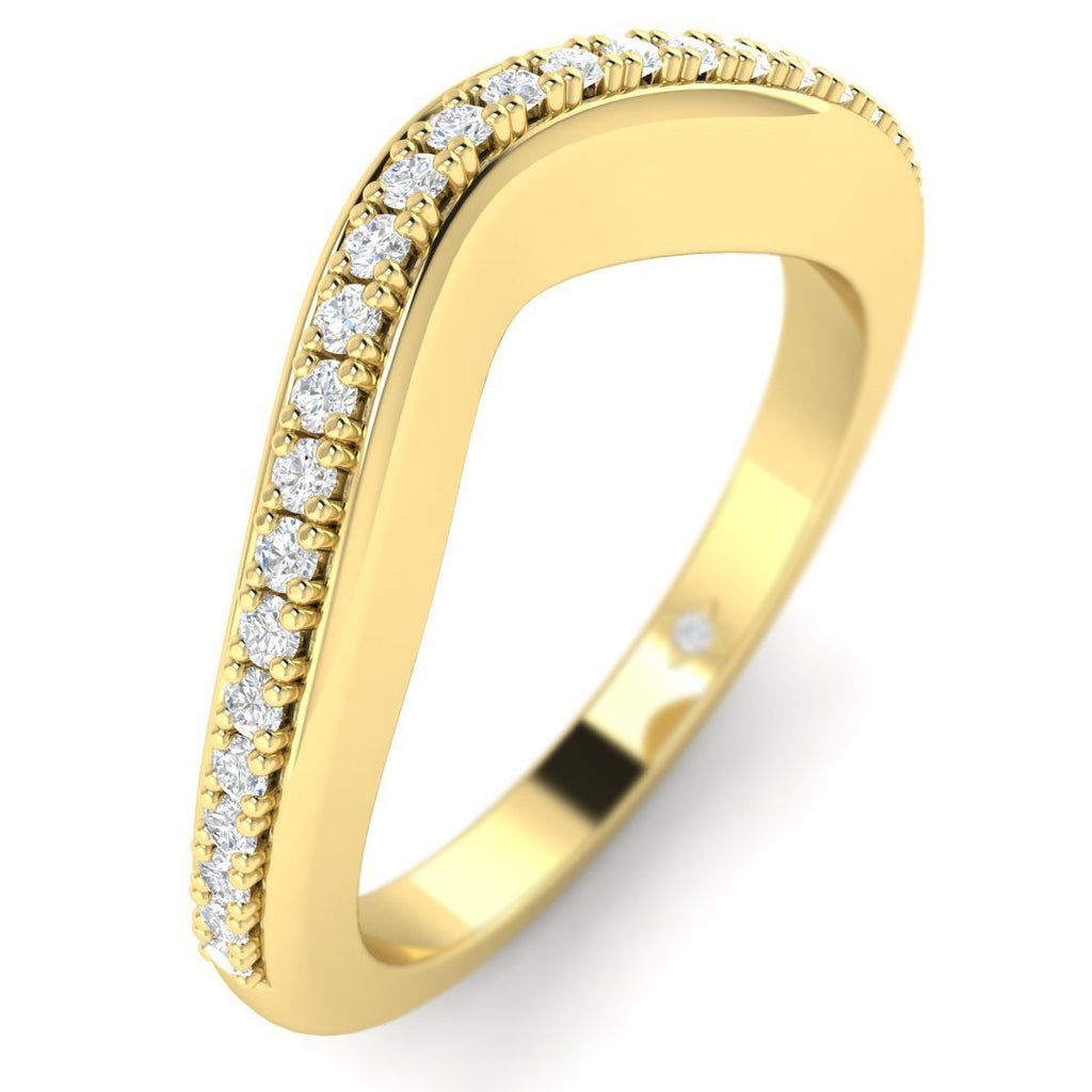 18K Yellow Gold Pave Curved Women's Diamond Wedding Band Ring - Custom Made