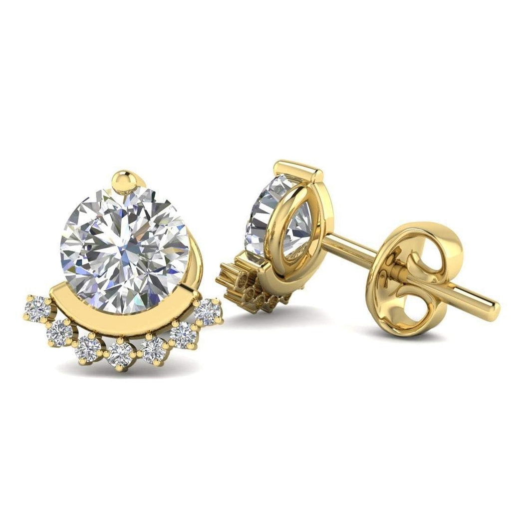 18k Yellow Gold Semi Halo Diamond Stud Earrings - 1.20 carat D-SI1 Natural, Butterfly Push-Backs - Custom Made