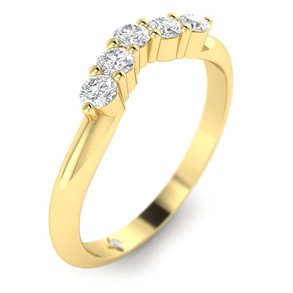 18K Yellow Gold Unique Curved Vintage Diamond Wedding Band Ring - Custom Made