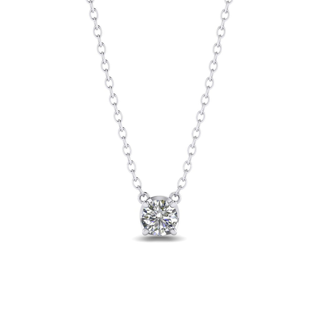 Daily Deal 1ct Diamond White Gold Solitaire Necklace