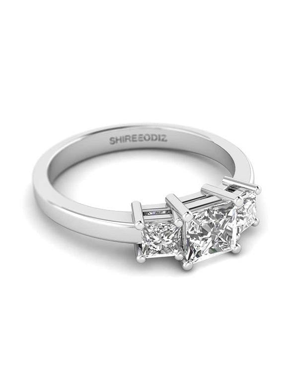 1ct Princess Cut Diamond Rings 3 Stone Engagement Rings in 18k White Gold - Custom Made
