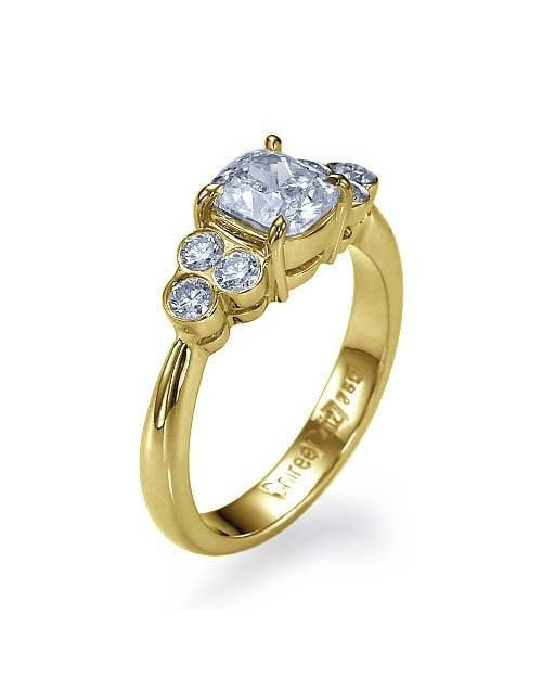 1ct Yellow Gold Unique Vintage Cushion Cut Engagement Unusual Diamond Rings - Custom Made