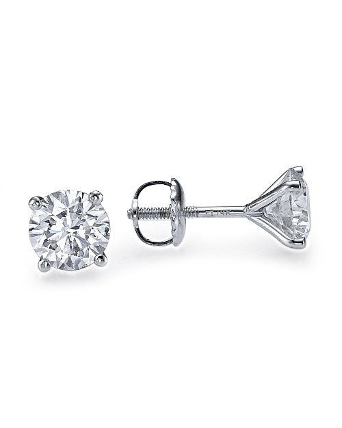 2.00 carat Real Natural AIG Certified E/VS2 Round Diamond Stud Earrings - Custom Made