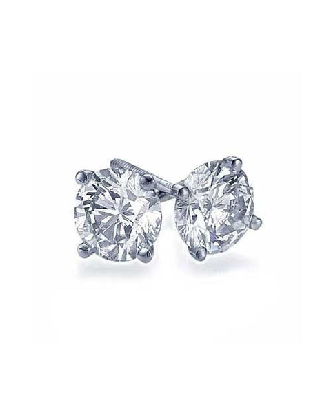 Earrings 2.00 carat Real Natural AIG Certified F/SI1 Round Diamond Earrings