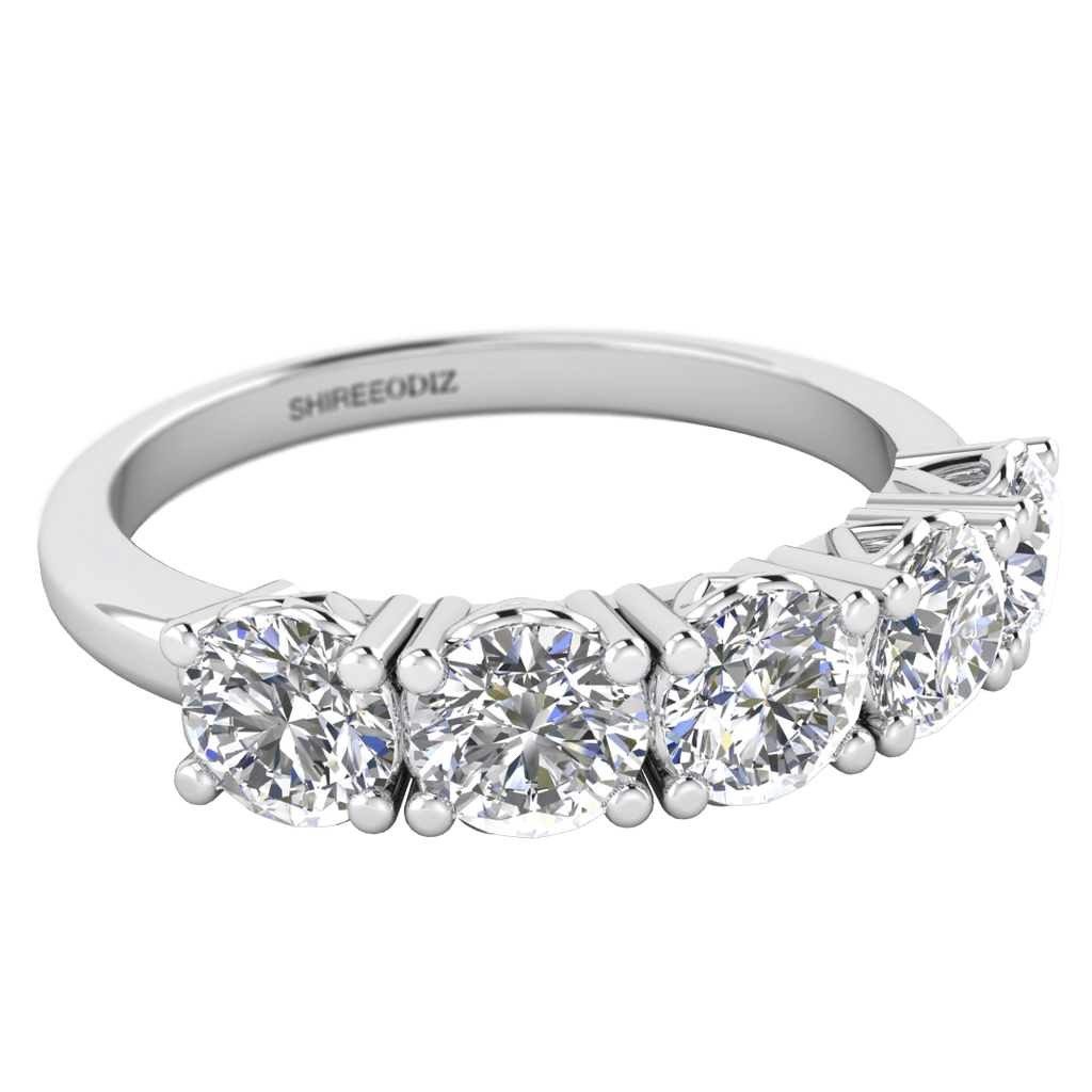 dd066ba1268cc 2.00 carat Unique Engagement Ring with 5 Diamonds in 18k White Gold