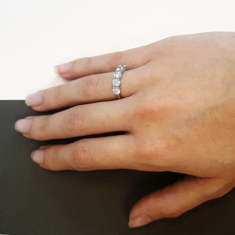 2.00 carat Unique Engagement Ring with 5 Diamonds in 18k White Gold - Custom Made