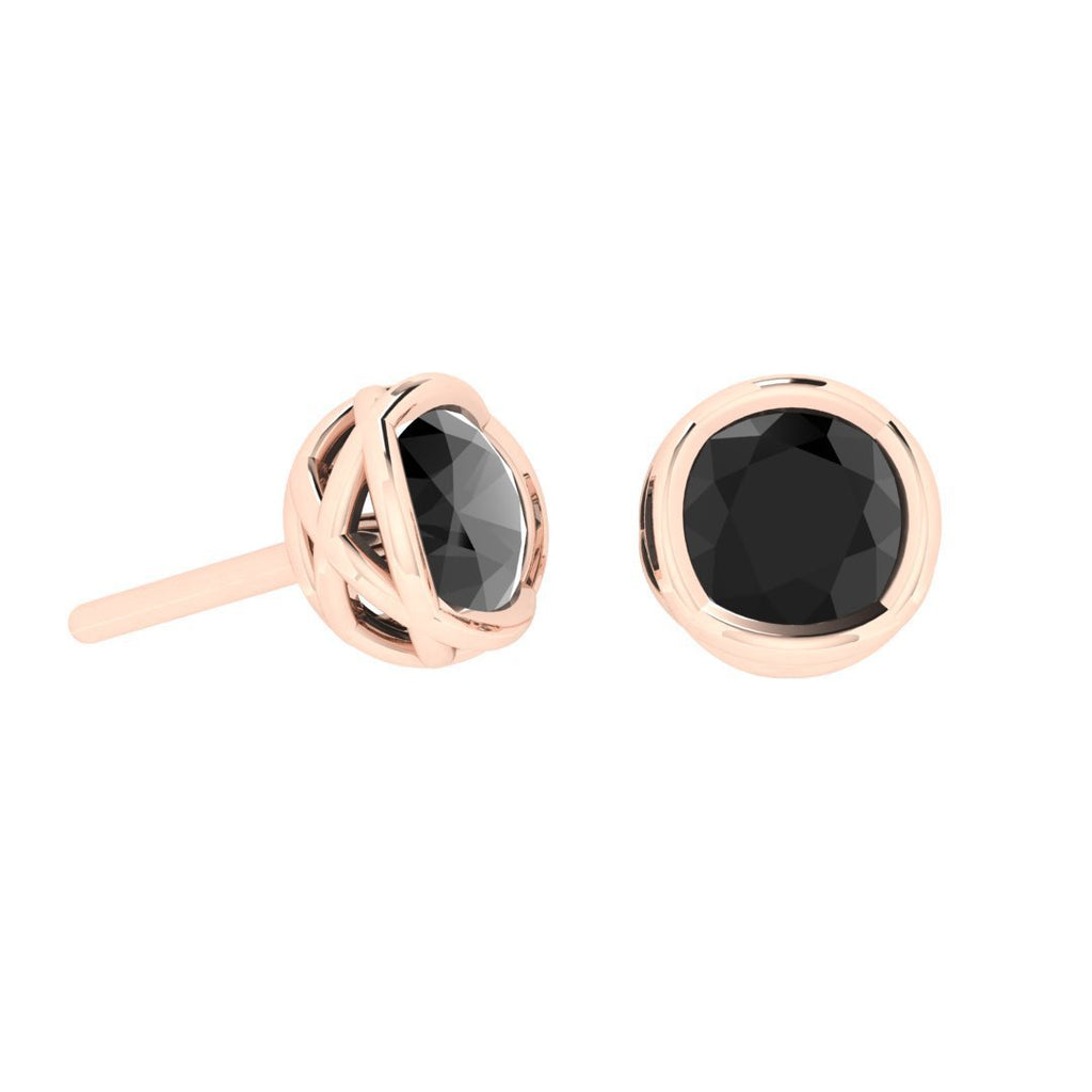 Daily Deal 2 carat Black Diamond Rose Gold Earrings