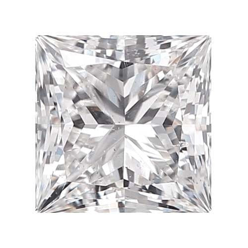 2 carat Princess Diamond - D/SI2 Natural Excellent Cut - TIG Certified - Custom Made