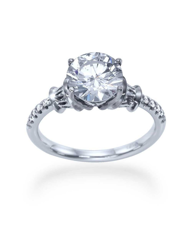 3.08ct F-SI2 Antique Clarity Enhanced Diamond Engagement Rings 14K White Gold - Custom Made