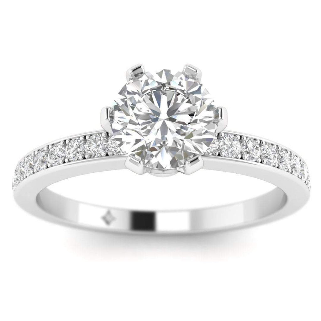 Sale 3/4 carat F/VS2 White Gold 6-Prong Solitaire Round Cut Diamond Engagement Ring with Pave Accents