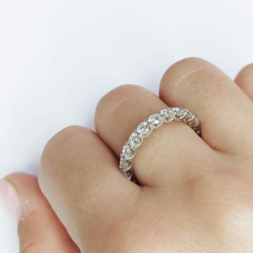 Diamond Eternity Rings 3 carat Natural Diamond Eternity Ring in 14k White Gold