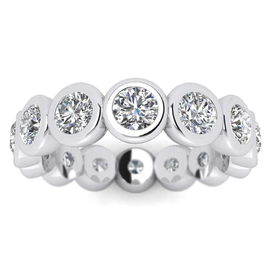 platinum carats the of band graceful oval each bezel polished a eternity weighs half bands pin diamond set edge wedding in embraces style line setting chic ring