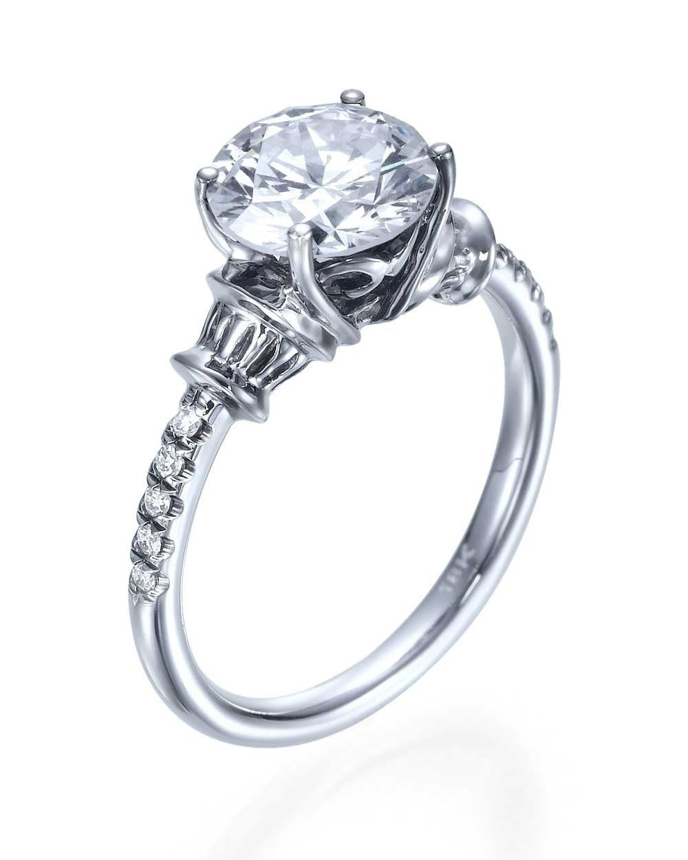 Engagement Rings 4prong Antique Round Engagement Ring  2ct Diamond