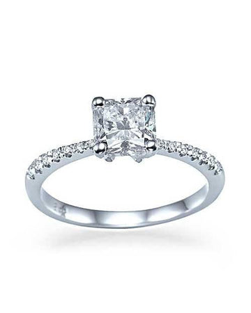 Engagement Rings 50% OFF | White Gold Thin Princess Cut Engagement Ring - 1ct F-VS2 Diamond