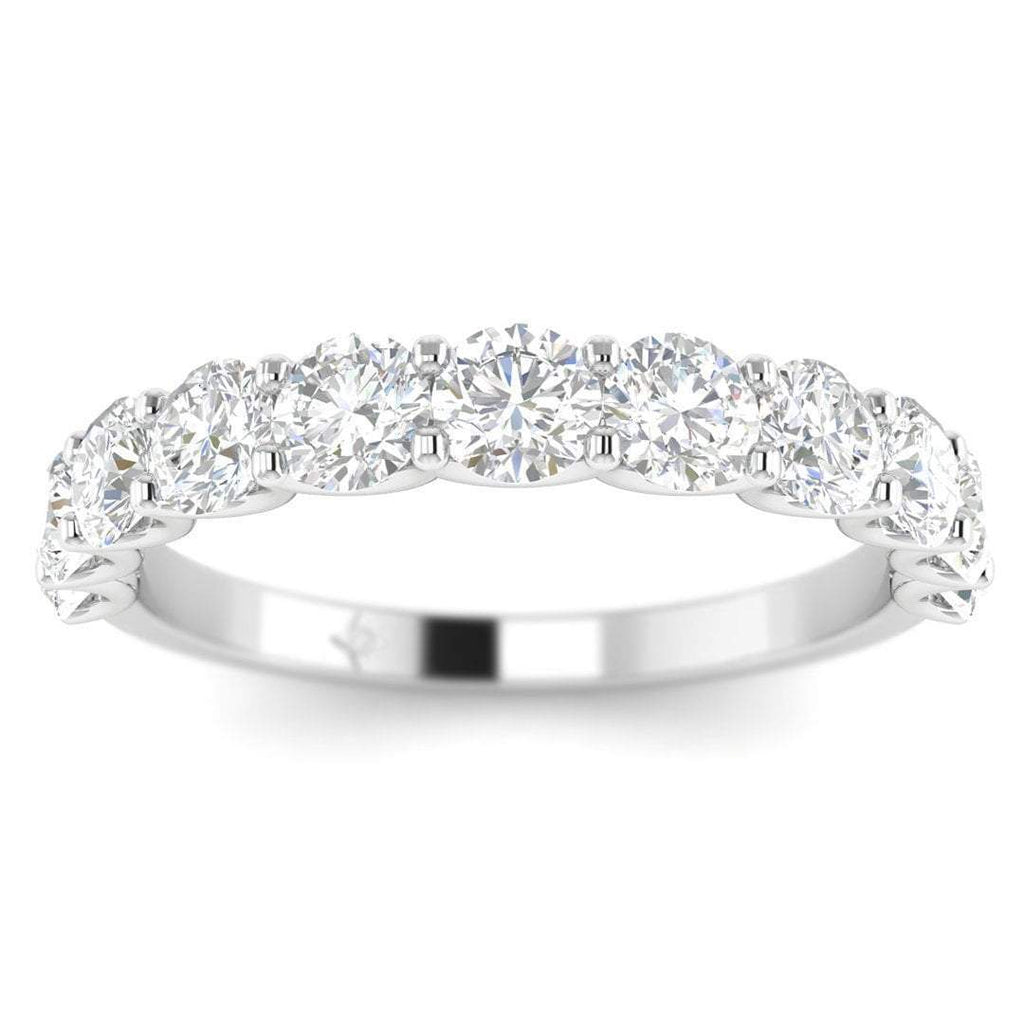 9-stone, shared-prong diamond anniversary band ring For Her - 14k White Gold Semi-Eternity - Custom Made