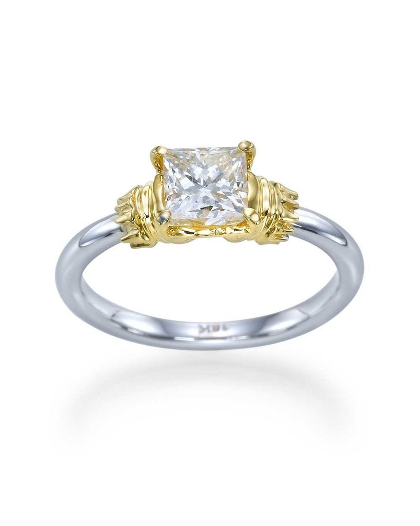 Antique Style Princess Cut Engagement Ring with 1.00 carat Diamond - Custom Made