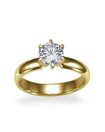 Engagement Rings Bellissimo Yellow Gold Wide Band 6 Prong Round Engagement Ring - 1.30ct Diamond