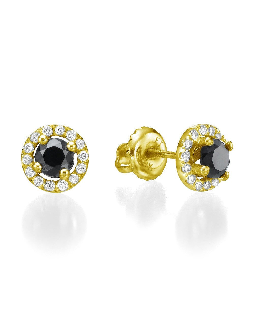Earrings Black Diamond Earrings, Halo Style in Yellow Gold - 0.70 carat