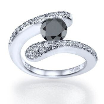 Black Diamond Tension Set Round Diamond Engagement Ring - Shiree Odiz