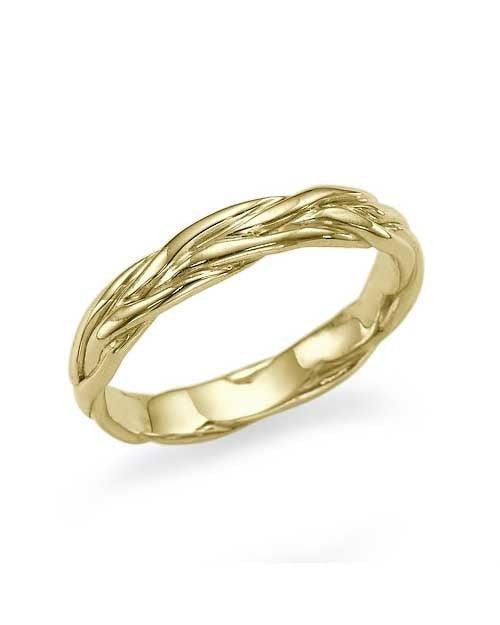 Braided Wedding Band Ring in 14K or 18K Yellow Gold - Custom Made