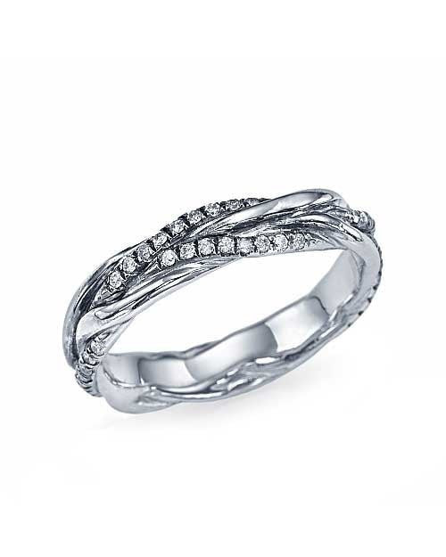 Braided Wedding Ring with 0.22ct Diamonds in White Gold - Custom Made