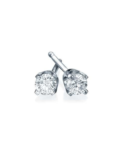 Earrings Classic 4 Prong Push-Back White Gold Diamond Stud Earrings - 0.20 carat