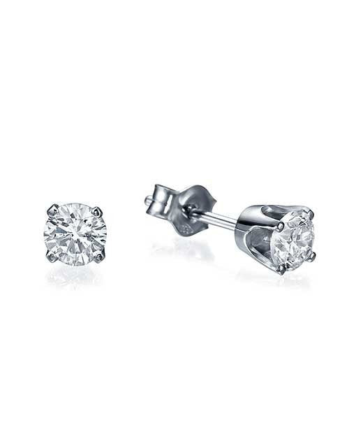 Earrings Classic 4 Prong Push-Back White Gold Diamond Stud Earrings - 0.40 carat