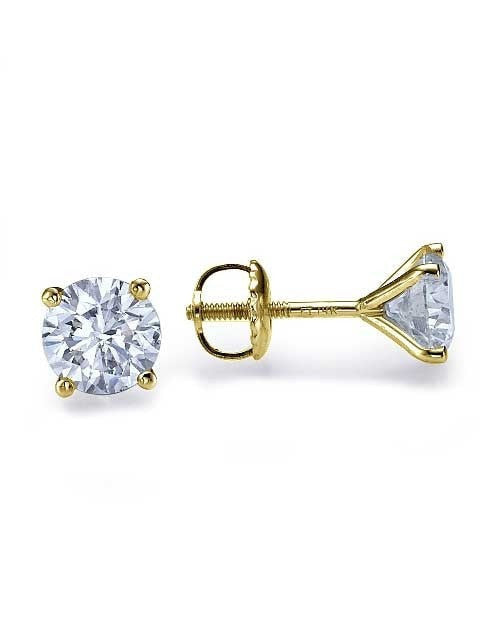 Earrings Classic 4 prong Push-Back Yellow Gold Diamond Earrings - 1.00 carat