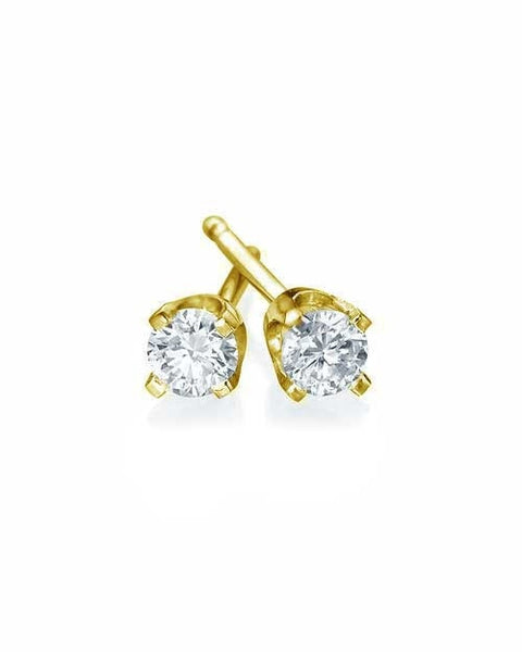 Earrings Classic 4 Prong Push-Back Yellow Gold Diamond Stud Earrings - 0.20 carat